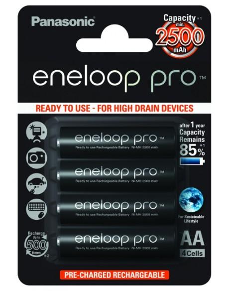 4 x akumulatorki Panasonic Eneloop PRO R6 AA 2500mAh BK-3HCDE/4BE (blister)