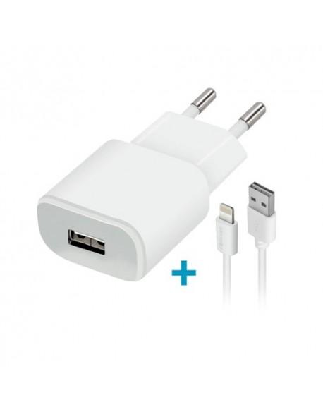 Ładowarka sieciowa Forever USB 2A TC-01 + kabel do iPhone 8-pin biała