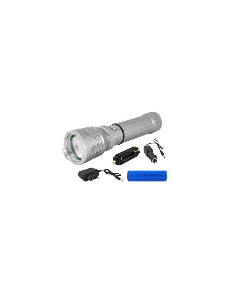 Latarka ręczna LTC LL42, 3w LED, ZOOM, magnes, zestaw ładowarka samochodowa i sieciowa.