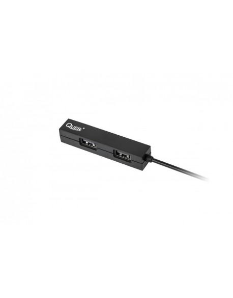 HUB USB 4 portowy H307 Quer czarny
