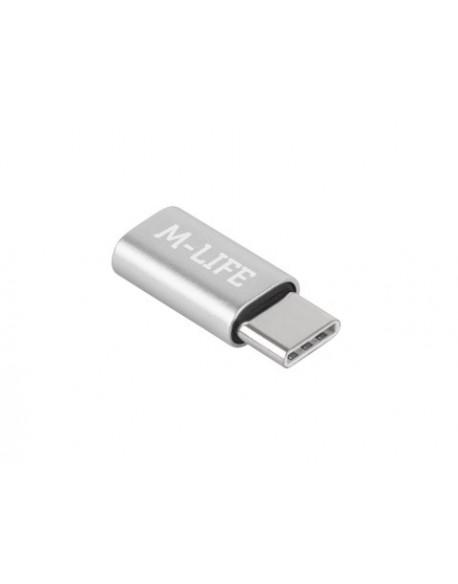 Adapter Przejściówka Micro USB - USB typu C M-Life srebrna