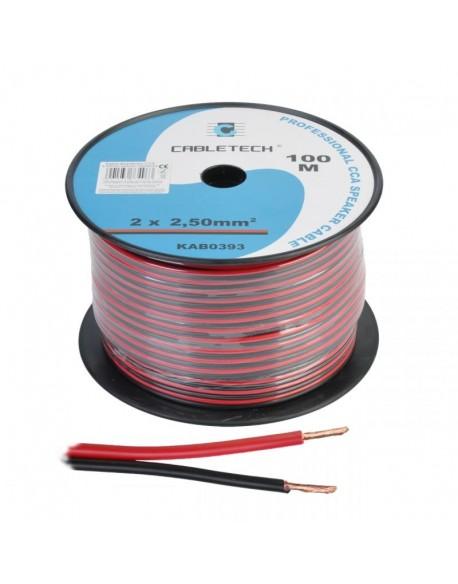 Profesjonalny kabel głośnikowy CCA. Średnica żył: 2 x 2.50mm. Kolor: czarno-czerwony.