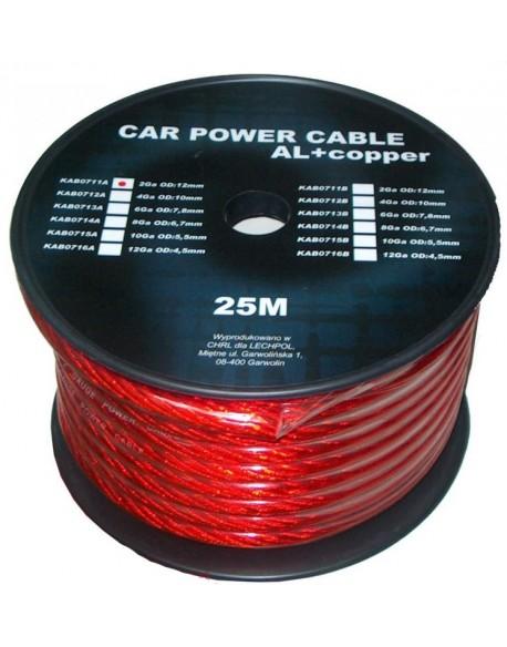 Kabel samochodowy 6Ga OD8mm CU+AL 25m
