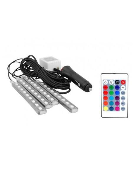 OŚWIETLENIE WNĘTRZA AUTA/KABINY 4x listwa RGB 9 LED WODOODPORNA+STEROWNIK/PILOT/WTYK ZAPALNICZKI IP54.