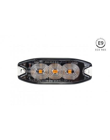 Lampa błyskowa płaska 3x3W LED R65 R10 12/24V IP67