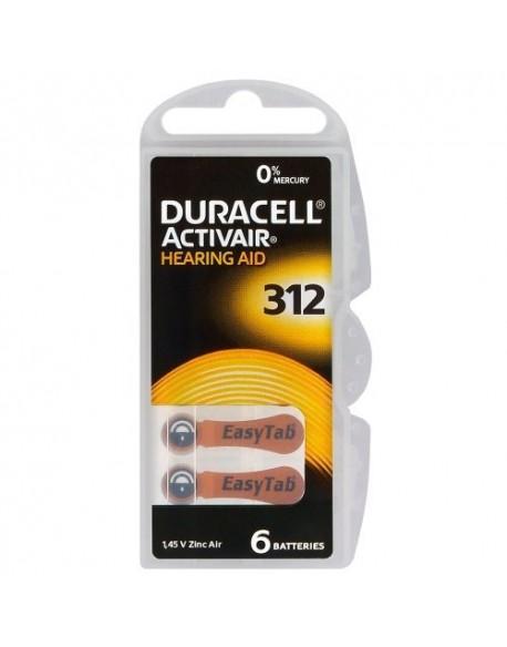 6 x baterie do aparatów słuchowych Duracell ActivAir 312 MF