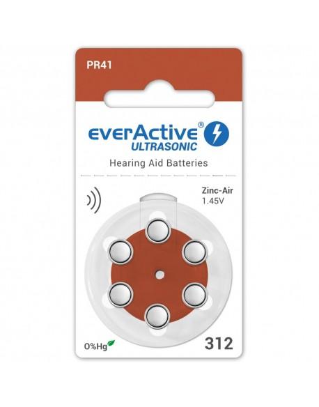 6 x baterie do aparatów słuchowych everActive ULTRASONIC 312